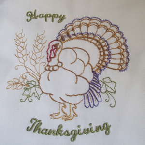 HAPPY THANKSGIVING TURKEY 5x7-Thanksgiving turkey embroidery design, holiday embroidery designs, Thanksgiving embroidery designs, colorline embroidery designs, Thanksgiving redwork embroidery designs, Thanksgiving rw embroidery designs, holiday rw embroidery designs, holiday redwork embroidery designs