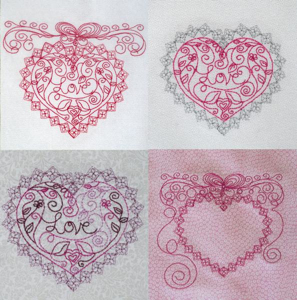 REDWORK HEARTS AND BOWS MINI SET 5X7-heart embroidery designs, redwork heart valentine embroidery designs,wedding hearts embroidery designs,heart frames redwork embroidery designs, exclusive heart embroidery designs,