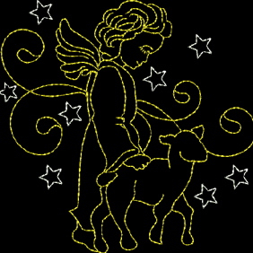 ANGEL WITH LAMB  4x4-angel embroidery designs, lamb embroidery designs, Christmas embroidery designs, redwork angel embroidery designs, Christmas redwork embroidery designs, embroidered angels, angel and lamb embroidery designs, child like angels,quality embroidery designs, single embroidery designs