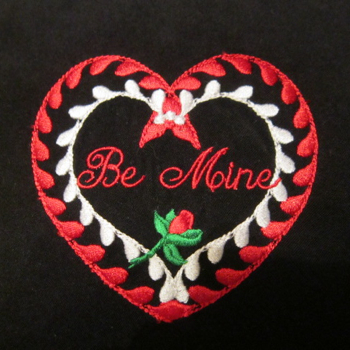 BE MINE ROSE HEART 4X4-heart embroidery design, Valentine embroidery design, single Valentines and heart embroidery designs,