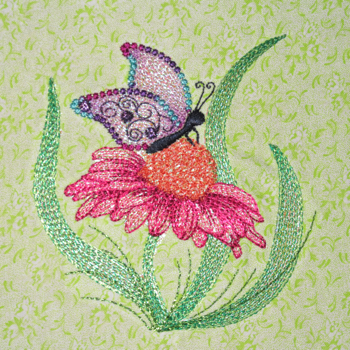 MYLAR CONEFLOWER BUTTERFLY 4X4-mylar embroidery designs, mylar butterfly embroidery design, butterfly embroidery designs, floral embroidery designs, mylar floral embroidery designs, exclusive embroidery designs, mylar butterfly and flowers embroidery design