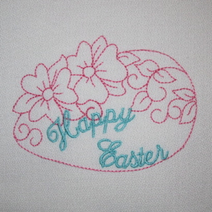HAPPY EASTER RW EGG 4X4-Easter embroidery designs, Christian embroidery designs, redwork Easter embroidery designs,