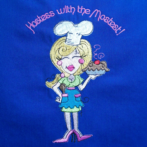 Baking hostess 5x7-baking embroidery designs, kitchen embroidery designs, apron embroidery designs, chef embroidery designs, baker embroidery designs,culinary embroidery designs