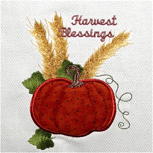 HARVEST PUMPKIN APPLIQUE' 5X7-pumpkin harvest applique embroidery,3-D embroidery, trapunto applique embroidery, Fall embroidery applique, Autumn embroidery applique designs,applique designs,Thanksgiving embroidery applique designs,seasonal home decor embroidery applique, kitchen embroidery applique designs,