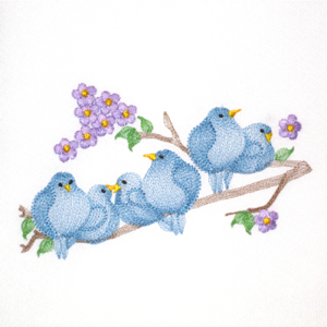 BLUEBIRDS OF HAPPINESS 5X7-bird embroidery designs,bluebird embroidery designs, springtime embroidery designs, summer embroidery designs, nature embroidery designs,