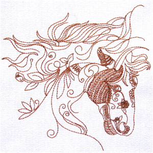 ORNAMENTAL HORSE 3 5X7-horse embroidery designs, redwork horse embroidery designs,western embroidery designs, western redwork embroidery designs,one color horse embroidery design, ornamental horse embroidery design, stylized horse embroidery design