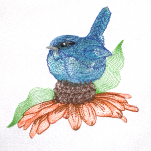 BLUEBIRD CONEFLOWER MINI SET 4x4-bluebird embroidery designs, realistic birds embroidery designs, realistic bluebird embroidery designs, flower Spring Summer embroidery coneflower designs, nature embroidery designs,