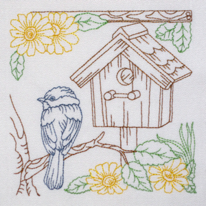 BIRDHOUSE HOME SWEET HOME 1 5x6-birdhouse embroidery design, bird redwork bluework birdhouse colorline embroidery design, redwork birds embroidery designs, redwork nature embroidery designs,Spring Summer embroidery desigs, kitchen embroidery desgins