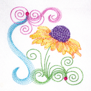 BLUEBIRD CONEFLOWER MINI SET 4x4-bluebird embroidery designs, realistic birds embroidery designs, realistic bluebird embroidery designs, flower Spring Summer embroidery coneflower designs, nature embroidery designs,