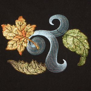 AUTUMN WINDS Mylar Mini Set-leaves fall autumn embroidery,fall mylar leaves embroidery designs, seasonal leaf fall exclusive mylar embroidery, contour exclusive leaves wind embroidery designs