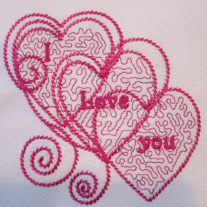 I Love you hearts 4x4-single Valentine embroidery design, single hearts embroidery design, Valentines embroidery design single,wedding embroidery single design,redwork heart embroidery design