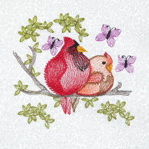 CARDINAL SEASONS MINI SET 4X4-cardinal birds embroidery,Winter cardinals embroidery, Sring cardinal embroidery, Summer cardinal embroidery, Fall cardinal embroidery,cardinal birds in 4 seasons, nature embroidery bird designs