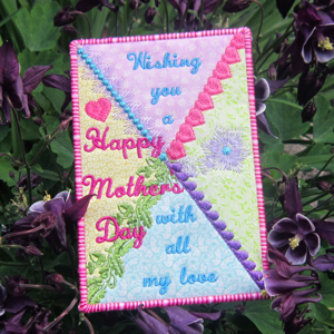 MOTHER'S DAY POSTCARD-mother's day embroidery,in the hoop mother's day gift embroidery, mother's day embroidered postcard
