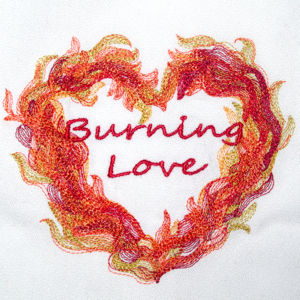 FLAMING HEARTS 2 SIZE SET-Valentine flaming hearts embroidery designs, hearts embroidery designs, fire hearts Valentine embroidery designs, Elvis hunk a burning love embroidery design, wedding heart embroidery, love heart embroidery,hot heart flames embroidery