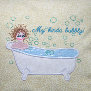 MY KINDA BUBBLY 5x7-bathroom embroidery applique designs,ladies embroidery applique designs,spa embroidery applique designs,