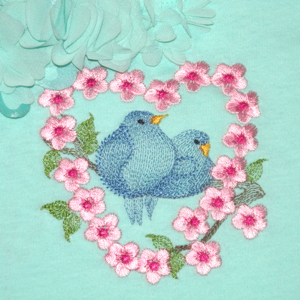 BLUEBIRD LOVEBIRDS mini set 4X4-bluebirds embroidery design, hearts Valentine lovebirds embroidery design, Spring Summer birds nature embroidery designs