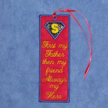 FATHER'S DAY HERO BOOKMARK FROM SON 5X7-father's day hero bookmark,in the hoop bookmark, father's day embroidery and applique designs