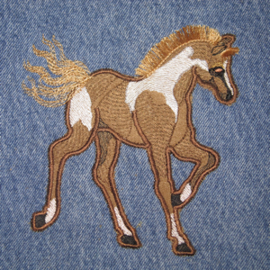 PAINTED PONY APPLIQUE' 5X7-horse embroidery applique', pony embroidery applique', realistic horse embroidery designs, western embroidery and applique' designs, animal embroidery applique, farm animal embroidery applique', fringed embroidery designs