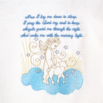 BEDTIME PRAYER 5X7-baby and children's embroidery, embroidered prayer,Christian angel embroidery,guardian angel embroidery