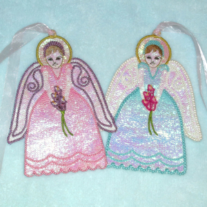 MYLAR SPRING LILY ANGEL-angel mylar fsl, in the hoop free standing angel, spring lily mylar angel, angel embroidery designs