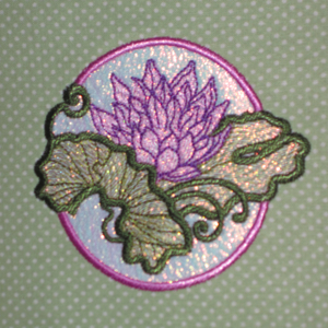 WATER LILY ORGANZA APPLIQUE' 4X4-water lily flower applique' organza embroidery,lily pad embroidery, water lily embroidery design, water lily applique',mylar embroidery designs, organza embroidery desgins, single water lily embroidery applique' embroidery,lily pad embroidery applique' design