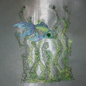 OPALESCENT FISH 5X7-fish embroidery, realistic fish embroidery, fishing embroidery, ocean embroidery, sea embroidery, underwater embroidery,seaweed embroidery, underwater scene embroidery, realistic embroidery