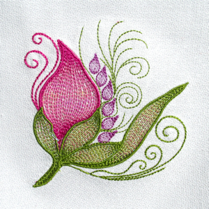 MYLAR FLORAL BUD FANTASY  Mini Set 4x4-mylar embroidery fantasy flower designs, floral fantasy embroidery flower designs, mylar flower applique designs,Spring Summer floral embroidery applique designs, exclusive embroidery applique designs,Spring bud embroidery mylar embroidery applique designs
