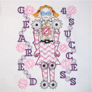 ROBOT GEARED 4 GIRL 5X7-robot embroidery design, robots for girls embroidery designs, gears designs, steampunk embroidery designs,back to school embroidery designs