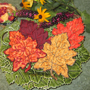 FALL LEAF TRAPUNTO APPLIQUE' 5X7-fall autumn leaf embroidery trapunto applique designs, leaf embroidery designs,leaf applique designs, Autumn embroidery and applique designs, fall leaf stumpwork embroidery designs