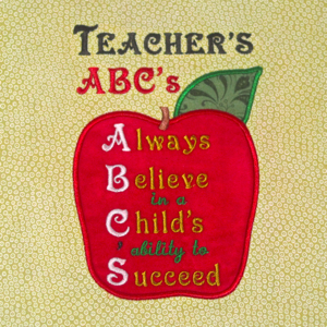 TEACHER'S ABC'S  5X7-school embroidery applique designs, back to school embroidery applique designs, teacher embroidery applique designs, education embroidery applique designs, a b c embroidery applique designs