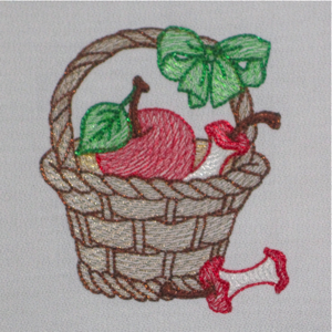 APPLE BASKET 4X4-apple embroidery design, basket embroidery design, kitchen embroidery design,fruit embroidery design,kitchen colorline design, sheer embroidery design, kitchen embroidery designs