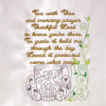 TEA WITH THEE 5X7-Christian faith embroidery designs,prayer scripture embroidery designs, spiritual embroidery designs, embroidery meditations, teacup embroidery designs,sentiment embroidery designs,redwork embroidery designs,kitchen embroidery