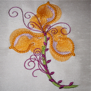 ORANGE GLOW FANTASY FLOWER-flower embroidery designs, floral embroidery designs, exclusive embroidery designs, fantasy flower embroidery designs,accent embroidery designs, floral home decor embroidery designs,