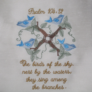 Psalm 104 12 5x7-Christian embroidery designs,religious embroidery designs, scripture embroidery designs, Psalms embroidery designs, spiritual embroidery designs, faith embroidery designs,