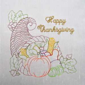 THANKSGIVING CORNUCOPIA 5X7-Thanksgiving embroidery designs, cornucopia embroidery designs,redwork colorline Thanksgiving embroidery designs, kitchen embroidery designs, holiday embroidery designs