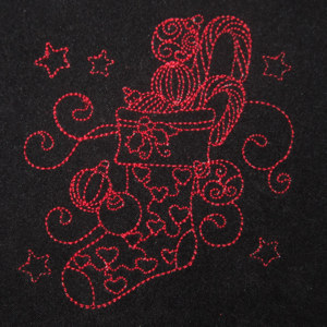 REDWORK CHIRISTMAS STOCKING 4X4-Christmas stocking redwork embroidery designs, Christmas gift embroidery designs, redwork embroidery designs, holiday redwork designs
