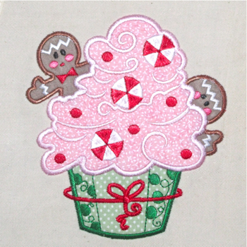 CHRISTMAS GINGER CUPCAKE APPLIQUE' 5X7-Christmas gingerbread embroidery applique designs, gingerbread appliques, Christmas kitchen gingerbread applique, Christmas cupcake applique embroidery designs,single Christmas embroidery applique designs,Christmas applique embroidery for little girls