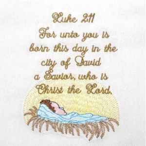 BABY JESUS, A SAVIOR IS BORN 5X7-Christmas embroidery designs, Christmas Christian embroidery designs, Christmas nativity embroidery designs, baby Jesus embroidery designs,Christmas religious embroidery designs,scripture embroidery designs