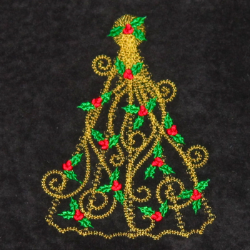 VICTORIAN HOLLY CHRISTMAS TREE 5X7-Christmas embroidery designs, Victorian holly Christmas tree embroidery,stylized Christmas tree embroidery designs, Christmas redwork embroidery designs,