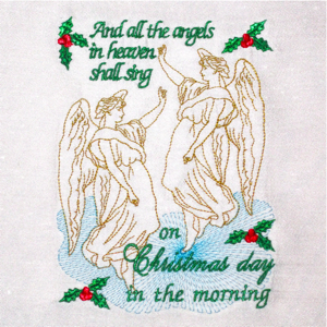 ANGELS SHALL SING 5X7-angel embroidery designs, Christmas angel embroidery designs, Christmas embroidery designs, Christian Christmas embroidery designs