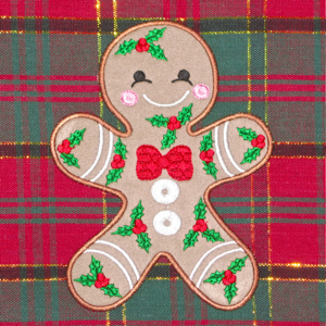 HOLLY GINGERBREAD APPLIQUE'  5X7-Christmas gingerbread applique embroidery design, gingerbread holiday embroidery applique, children's Christmas gingerbread embroidery and applique, kitchen and home Christmas gingerbread embroidery applique