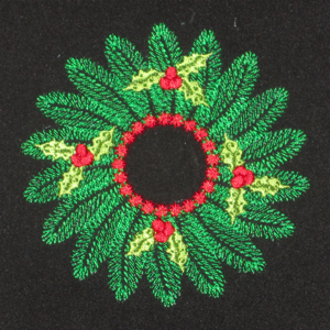 CHRISTMAS HOLLY WREATH 4X4-Christmas wreath with holly embroidery design, Christmas embroidery designs, wreath embroidery design, Christmas accent embroidery designs,