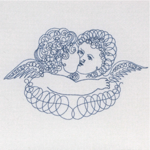 ANGELS EMBRACE VINTAGE CHERUBS 5X7-angel cherub embroidery designs, vintage angel cherub embroidery design, redwork angel cherub vintage embroidery designs,romantic embroidery designs,Valentine embroidery designs, wedding and bridal embroidery designs