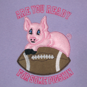 FOOTBALL  ARE YOU READY FOR SOME PIGSKIN 5X7-football embroidery applique pigskin design, are you ready for some football embroidery applique pigskin design, football sports embroidery applique exclusive designs,super bowl embroidery applique designs,national football league super bowl embroidery applique designs,