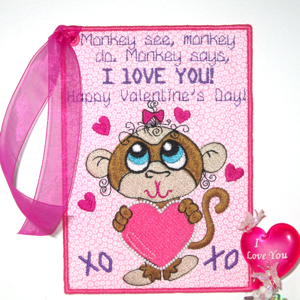 VALENTINES CARD I LOVE YOU GIRLS-Valentines embroidery designs,Valentines card embroidery designs, in the hoop Valentines embroidery designs, children's Valentines embroidery designs,Valentines keepsake embroidery card designs