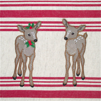 CHRISTMAS REINDEER FAWN DUO APPLIQUE 5X7-Christmas reindeer embroidery fawn deer embroidery applique designs, Christmas Fawn embroidery design, Christmas applique designs