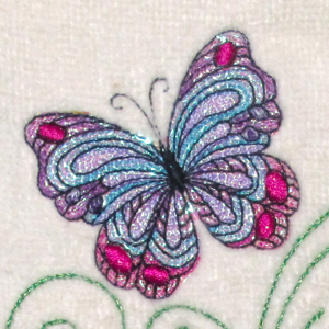 MYLAR BUTTERFLY SINGLE 4X4-butterfly embroidery designs, Mylar butterfly embroidery designs, Spring Summer nature embroidery designs, Spring Summer Mylar embroidery designs