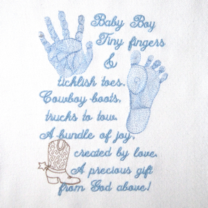 BABY BOY PRINTS & POEM 5X7-baby embroidery designs, baby boy embroidery designs, baby footprints handprints embroidery designs, realistic footprint baby embroidery designs, realistic baby handprints embroidery design,baby newborn embroidery designs, baby poem embroidery designs, baby shower embroidery designs