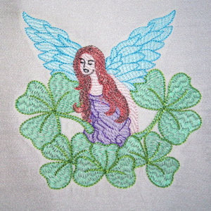 IRISH ANGEL 5X7-Irish angel embroidery design, St. Patrick's Day angel embroidery design, Celitc angel embroidery design, single Irish St. Patrick's Day Celtic angel embroidery design
