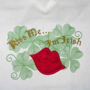 KISS ME I'M IRISH  5X7-St. Patrick's day embroidery designs, St. Patricks' day applique designs, Irish embroidery and applique designs, kiss me I'm Irish embroidery and applique designs, Celtic embroidery designs,3 d embroidery designs, dimensional embroidery applique designs, kiss embroidery and applique designs, lips embroidery and applique designs
